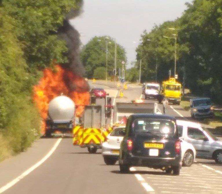 The tanker fire on the A20. Picture: Finley Jones (2730573)