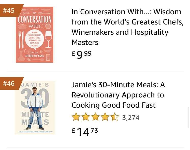 Alfred Moisan's book ahead of Jamie Oliver in Amazon's top 50 best-selling cookbooks