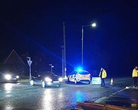 The road was closed in both directions. Picture: Richard Moran
