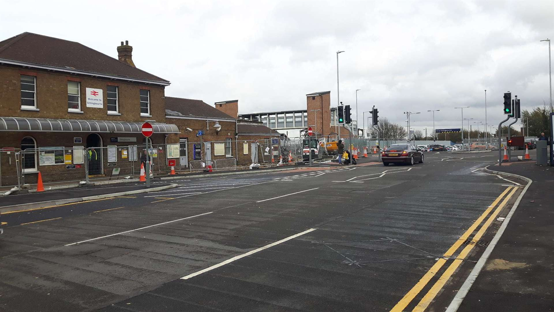 The new road layout in from of Sittingbourne Train Station