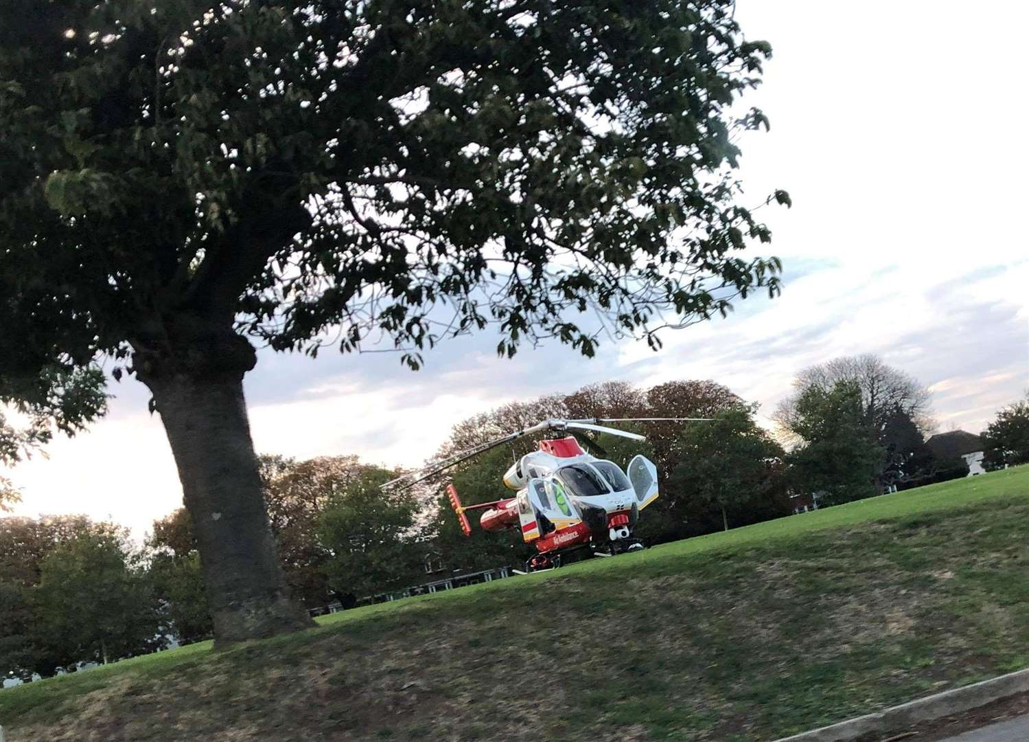 An air ambulance landed on the grass at Victoria Park
