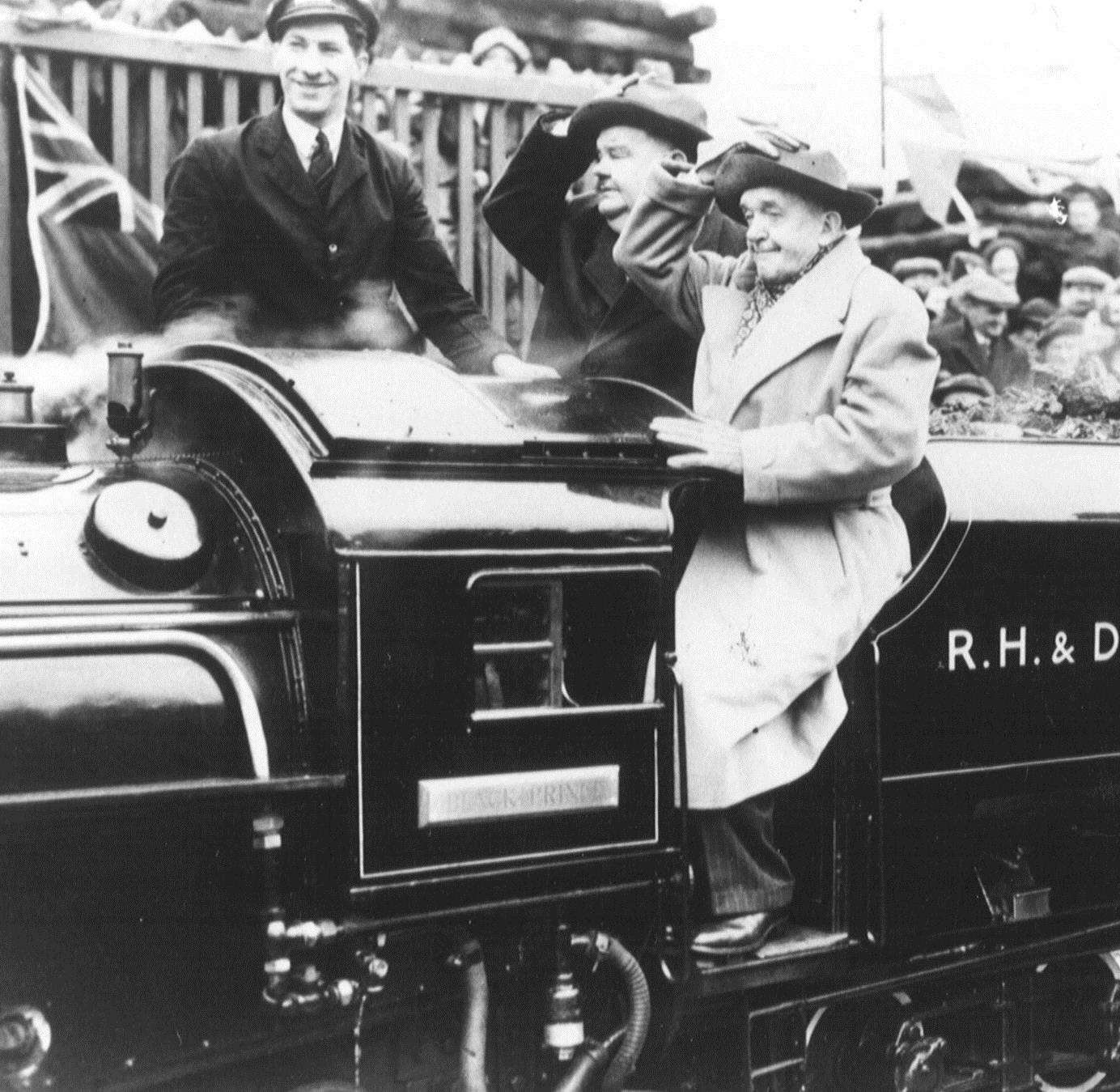 Laurel & Hardy at the re-opening of the Romney, Hythe and Dymchurch Railway in 1947