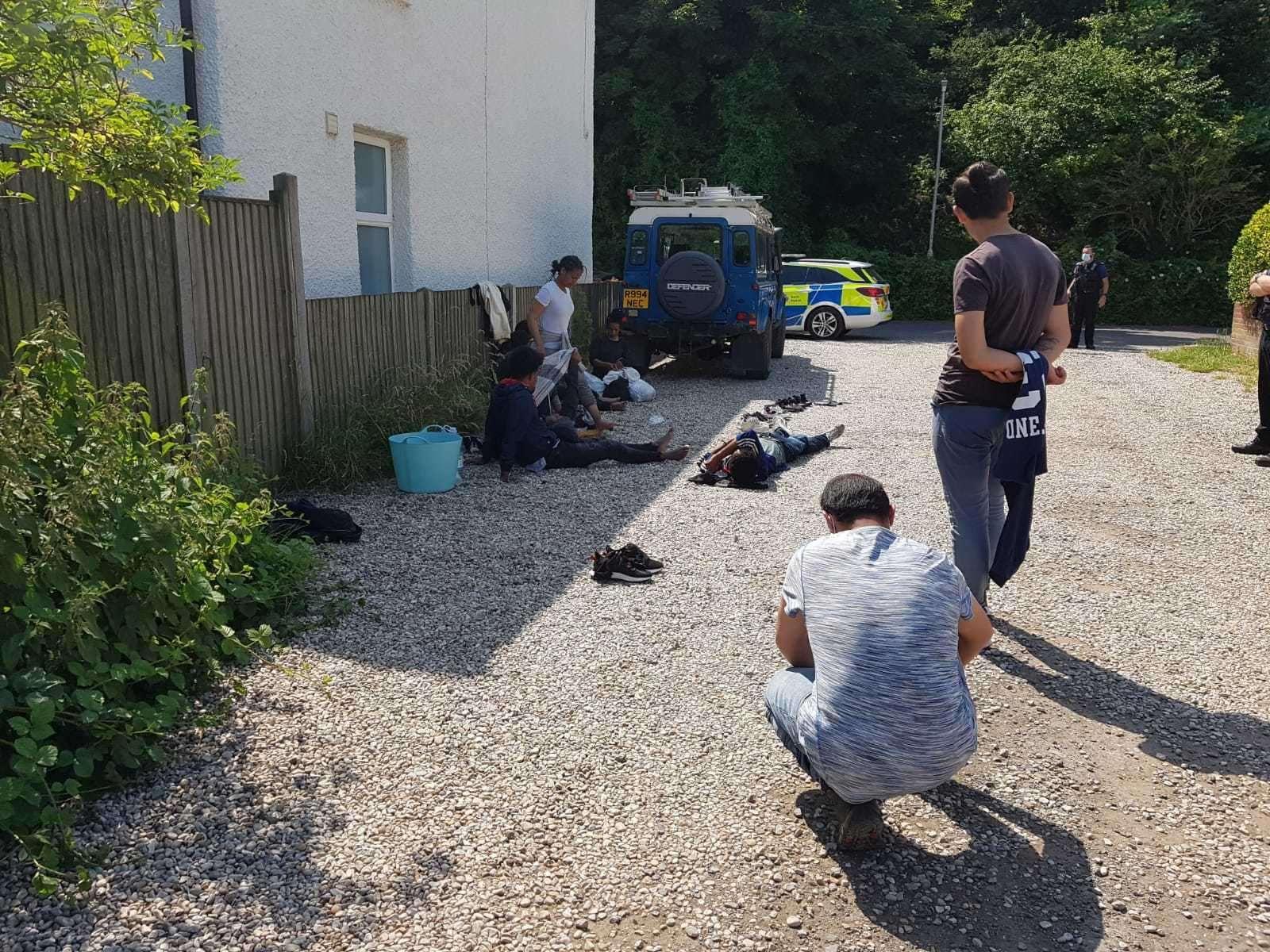 Police caught up with asylum seekers in North Road, Kingsdown.  Photo: Catherine Hewitt