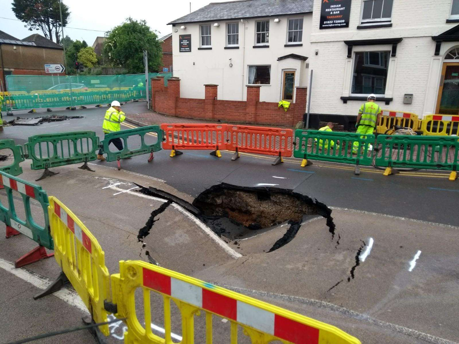Work is underway at the Tonbridge Road sinkhole