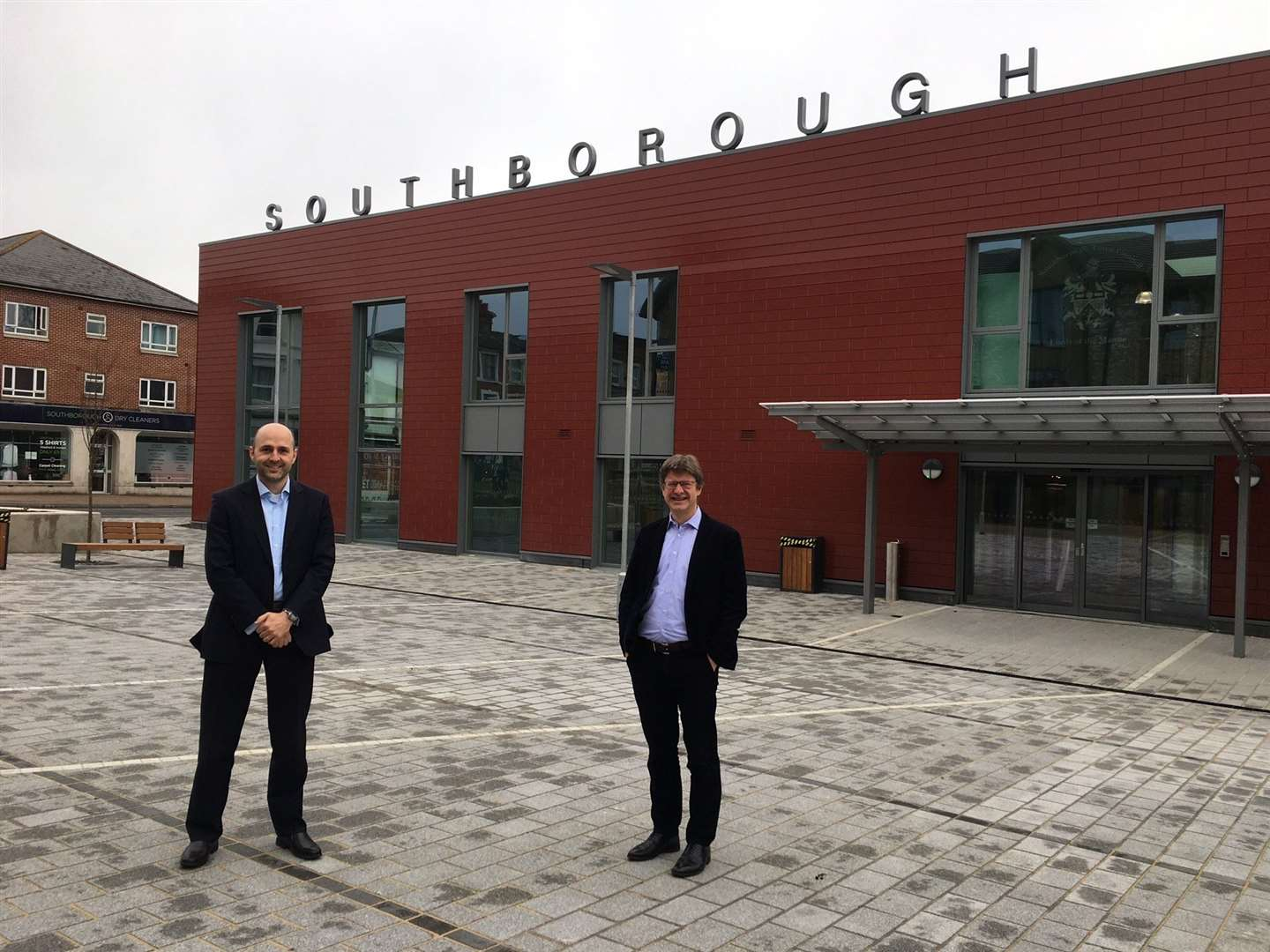 The new centre's project manager Jonathan White with MP Greg Clark outside the civic centre