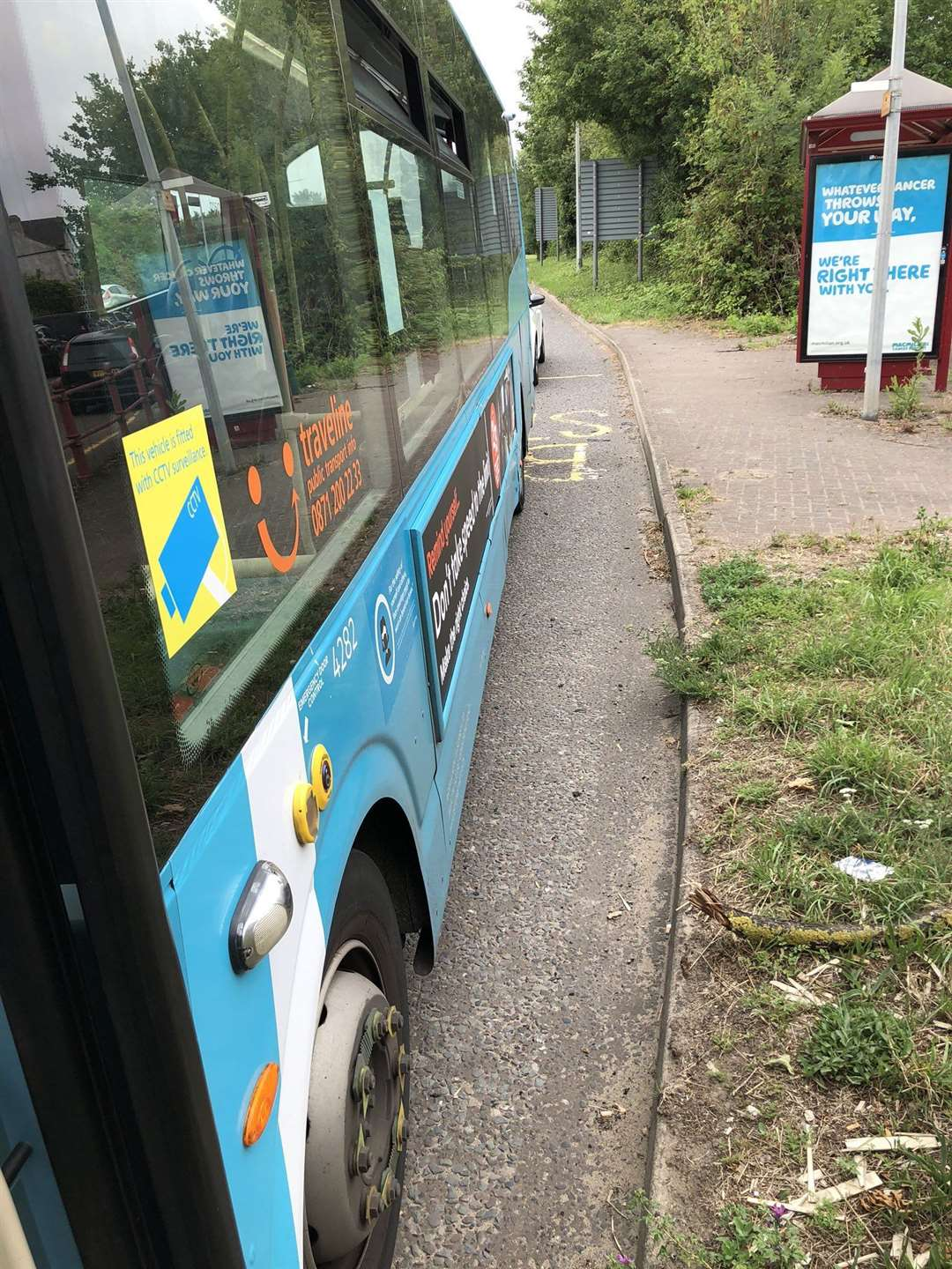 The bus stopped by police after the driver was caught using his phone in Snodland (37833079)