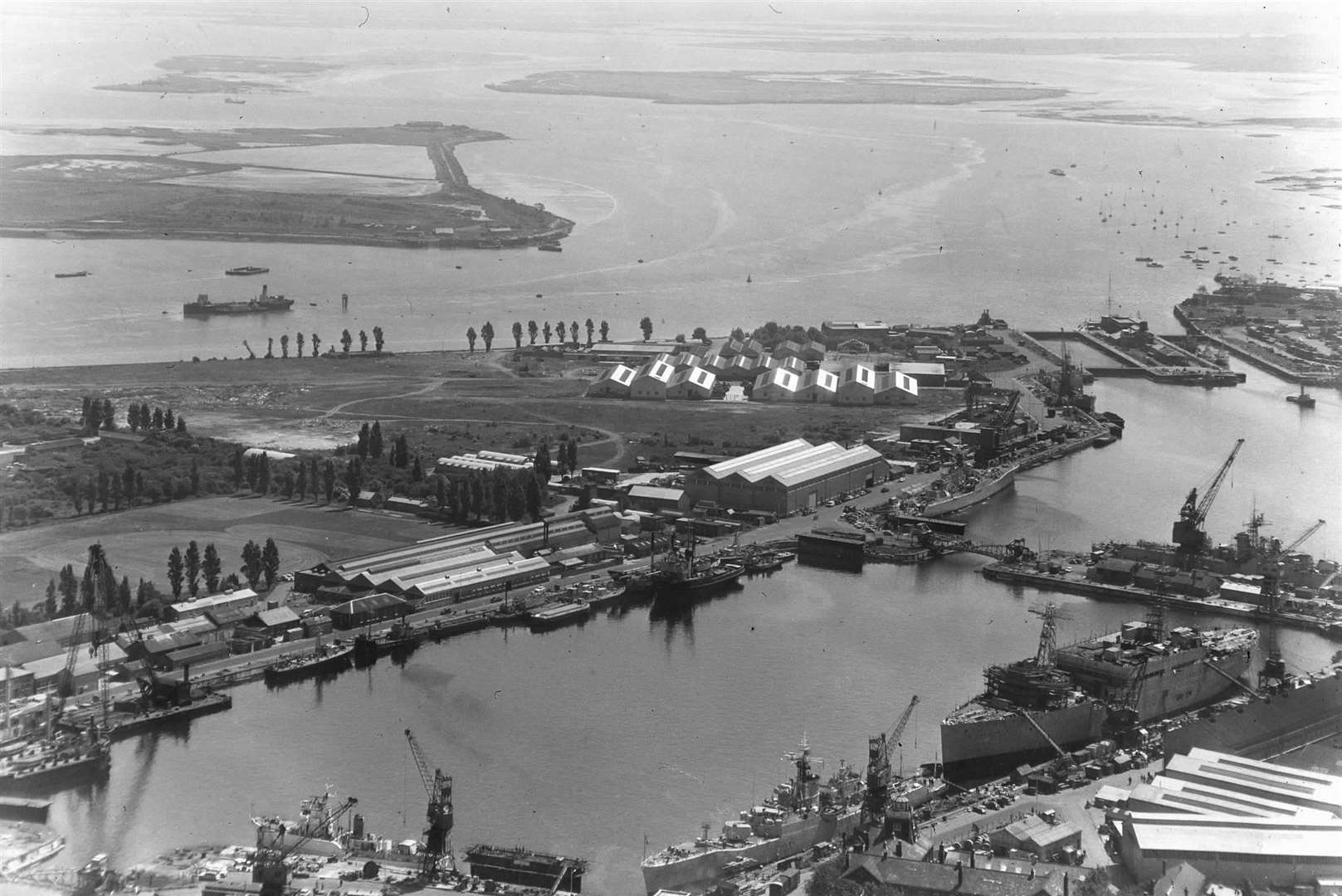 Aerial View of Chatham Dockyard in the early 60s