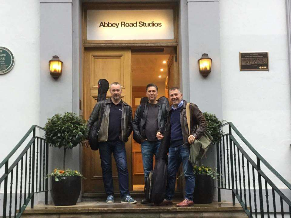 Chris Weller (right) with Rob Shepherd (centre) and Bob Collins outside Abbey Road Studios (3403435)