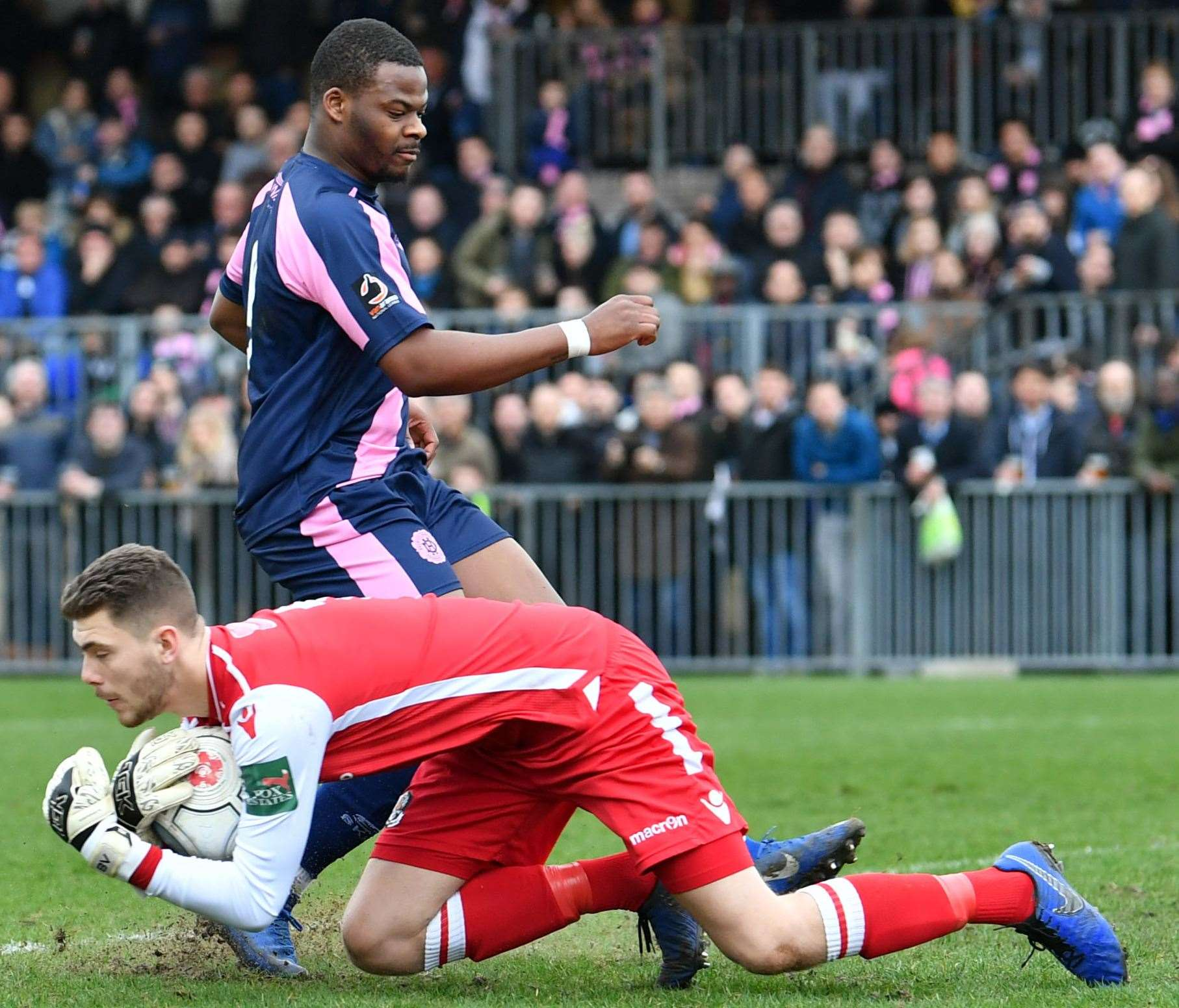 Goalkeeper Bailey Vose in action for Dartford against Dulwich. Picture: Keith Gillard
