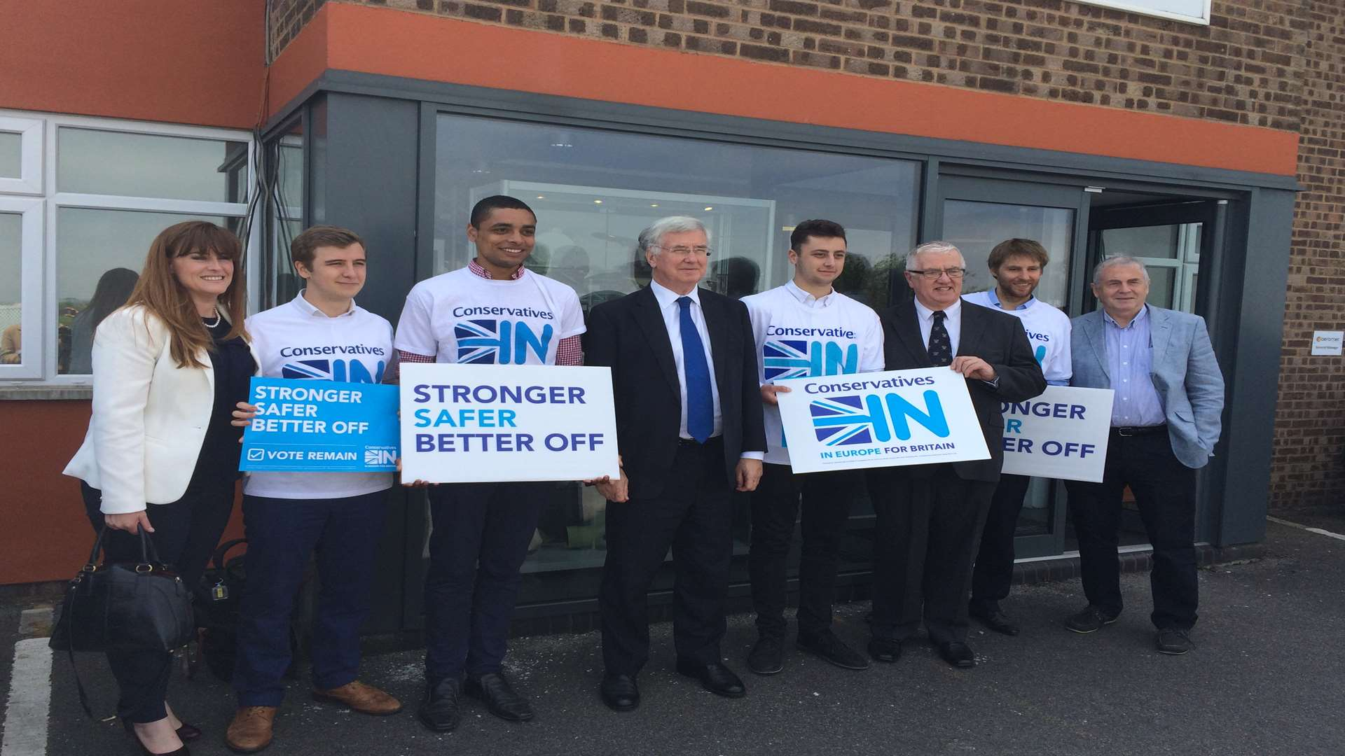 Rochester and Strood MP Kelly Tolhurst, Defence Secretary Michael Fallon and remain campaigners at Euromet in Rochester