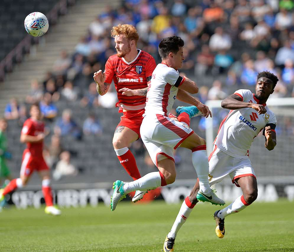 Connor Ogilvie in action for the Gills at MK Dons Picture: Ady Kerry