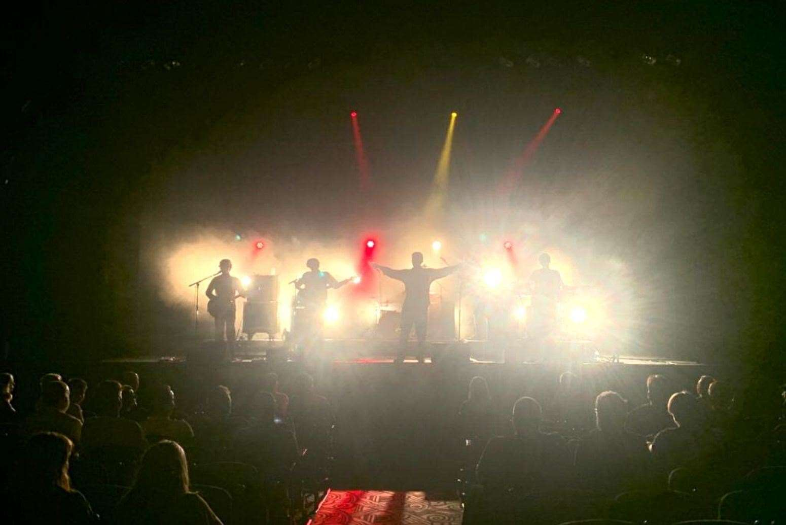 A crowd sat socially and wore masks during a concert at the Tunbridge Wells Assembly Theater earlier this month