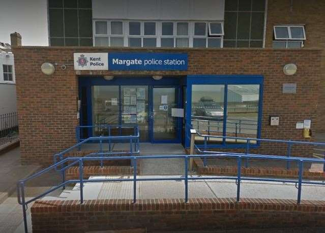 Daly had been riding an e scooter outside Margate police station when he was stopped by police. Picture: Google Street View