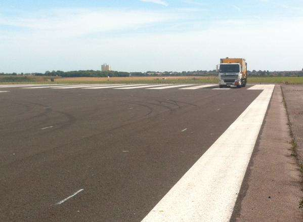 White lines were painted at Manston in readiness for Operation Stack