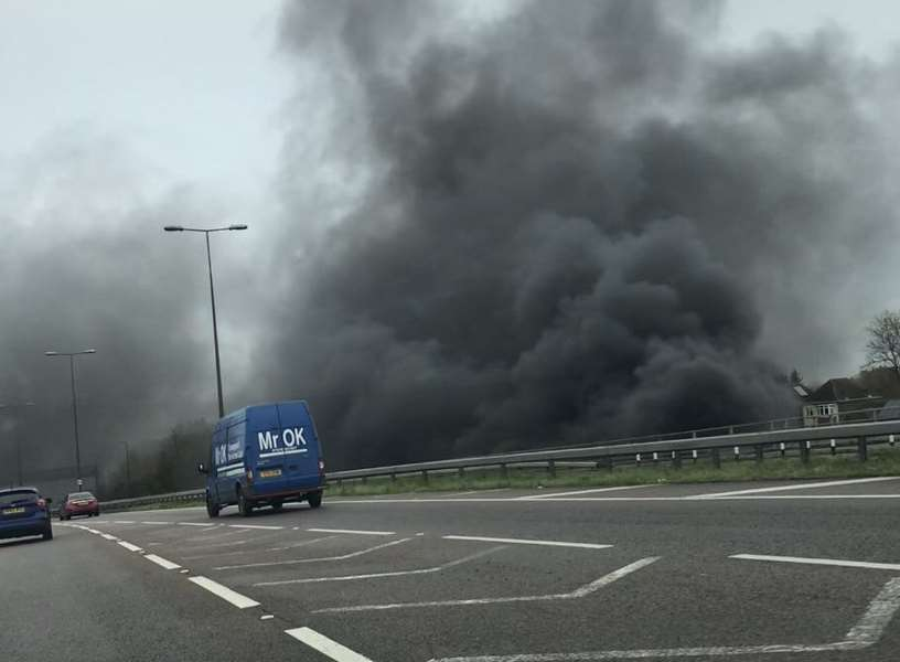 Smoke billowing across the carriageway. Picture: Robin Chappell.