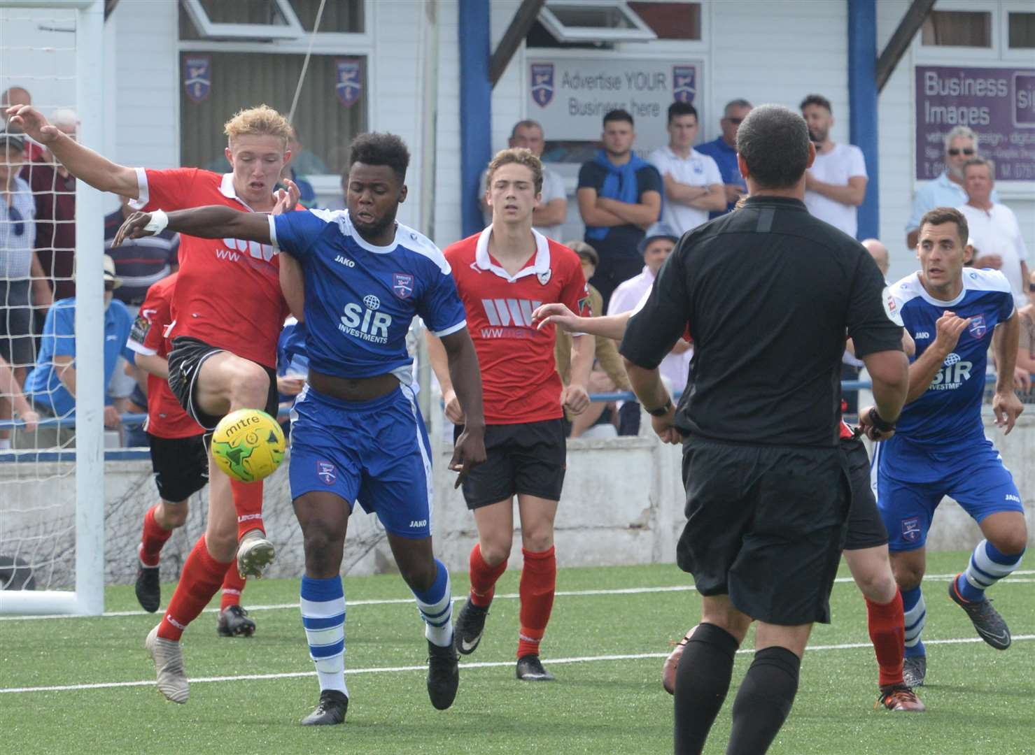 Ramsgate (red) defend against Margate in the pre-season friendly at Hartsdown Road Picture: Chris Davey