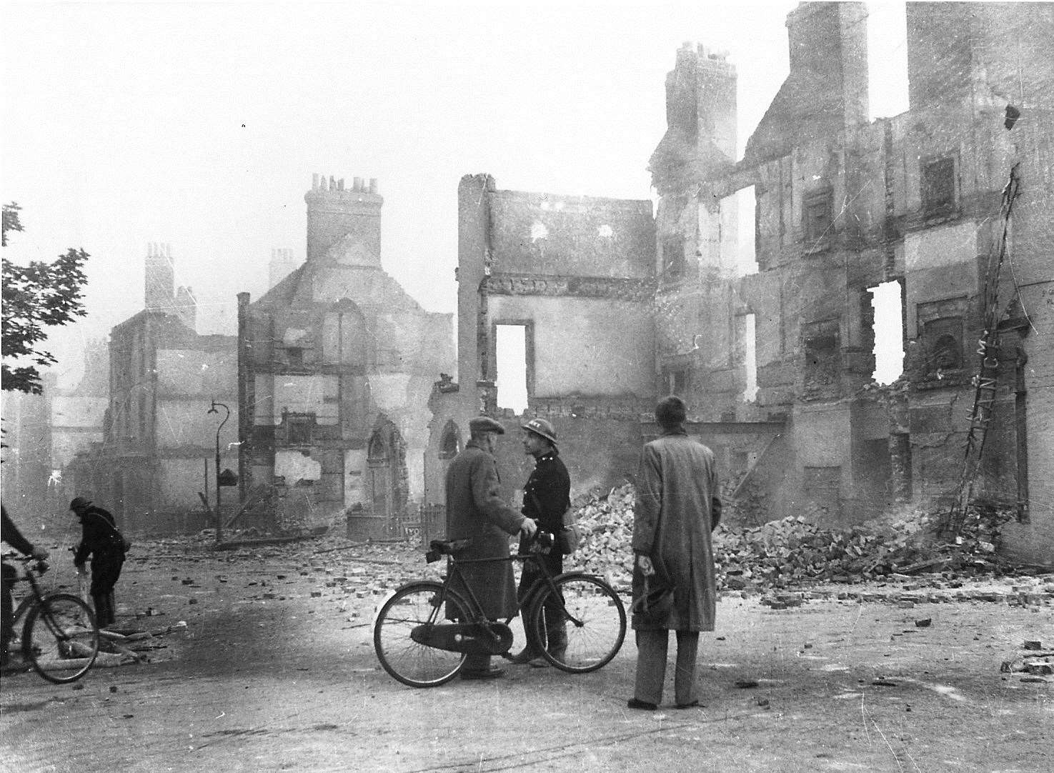 The north side of St. George's Place, in the immediate aftermath of the June 1942 blitz