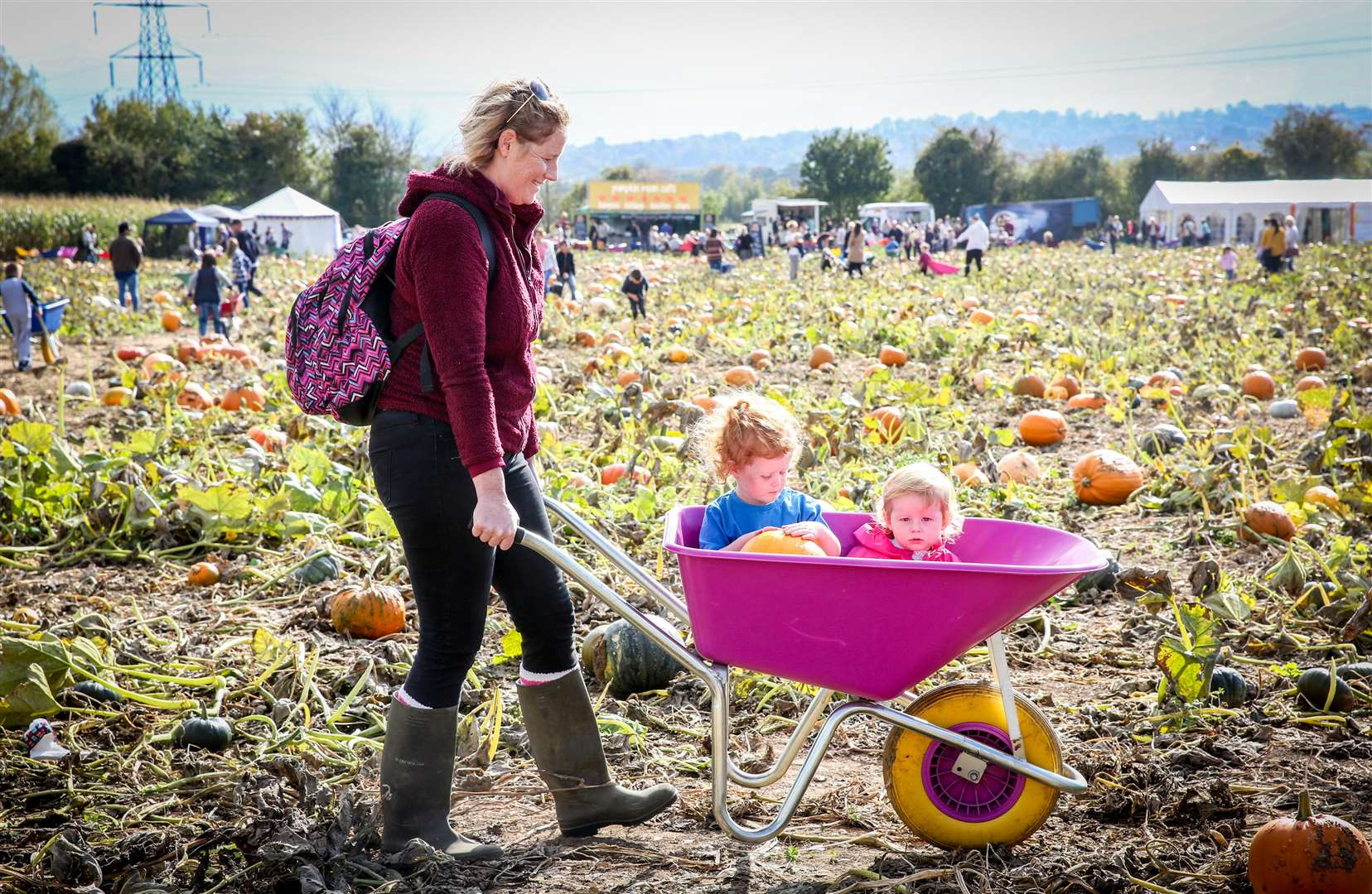Family-friendly pumpkin picking at Pumpkin Moon, with Nicola Worsfold and Indiana, 2, and Aynara, 1, in a wheelbarrow. Picture: Matthew Walker