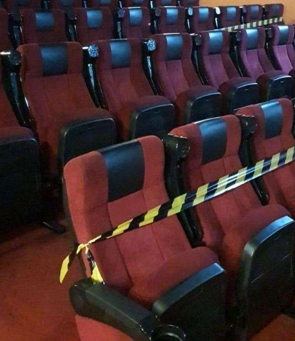 Socially-distanced seating at the New Century cinema in Sittingbourne