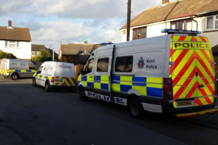 Police presence in Almond Road, Stone, on Sunday afternoon
