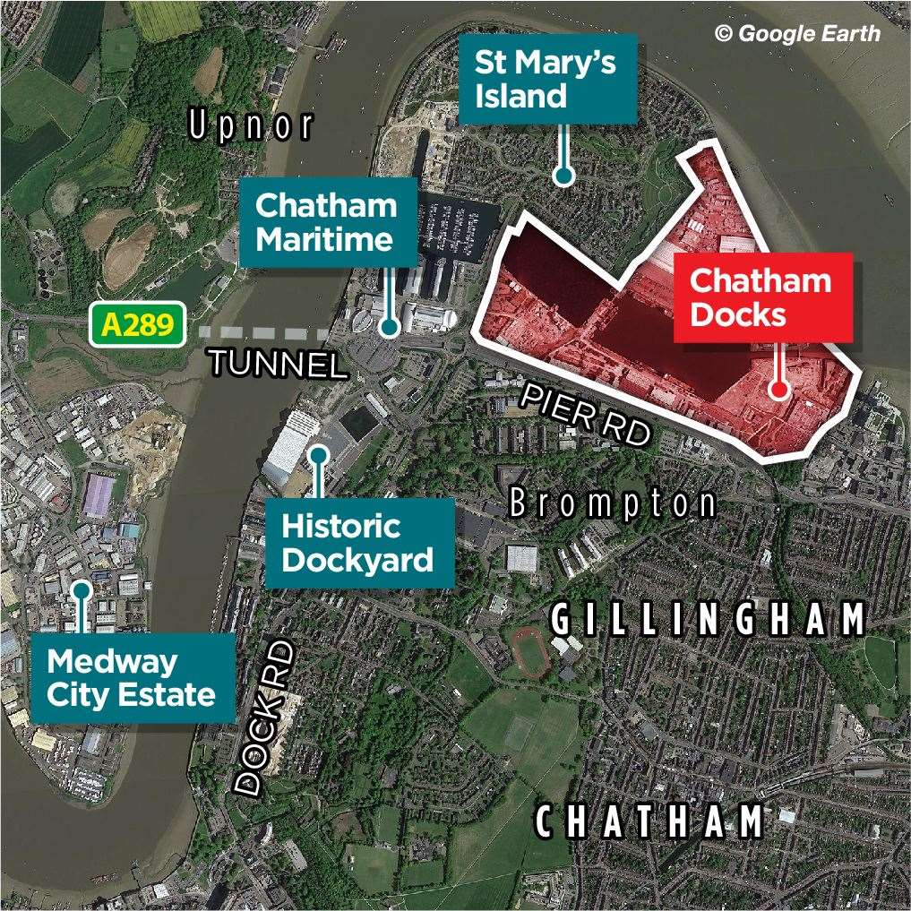 The red area shows Chatham Docks which is due to be closed in 2025