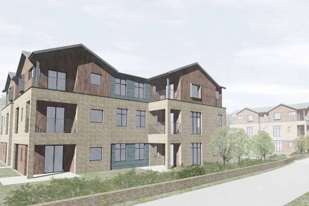 An artist's impression of new flats for veterans in the Quarry Wood Industrial Estate Location.