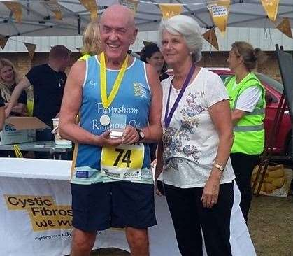 Faversham Mayor Alison Reynolds presents Ray with one of his trophies