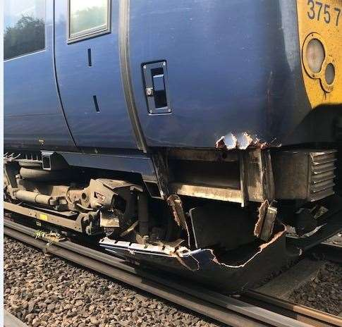 Damage to the train after it hit a tree on the line. Picture: Southesatern (14082817)