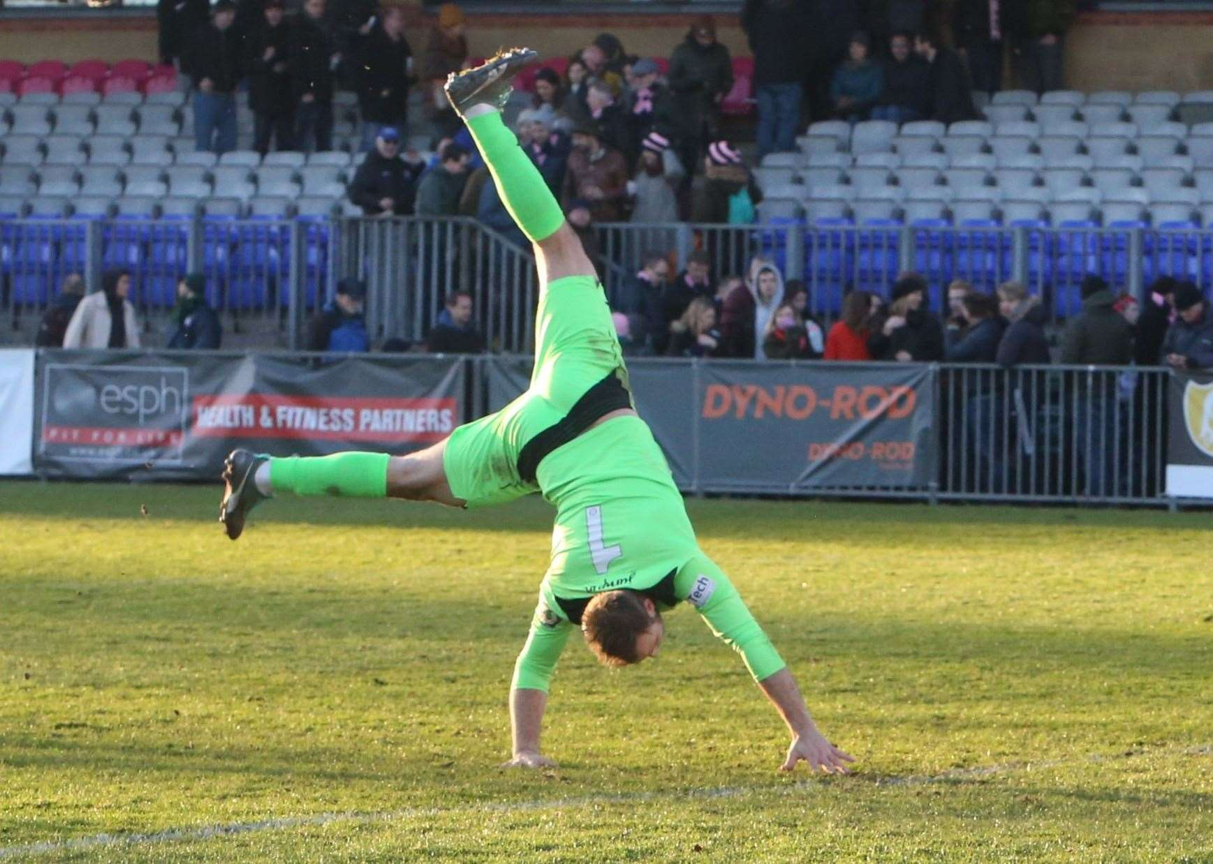 Tonbridge keeper Jonny Henly celebrates victory at Dulwich Picture: David Couldridge