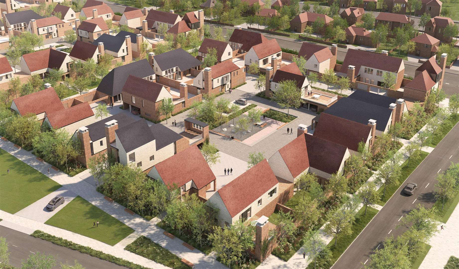 An artist's impression of the planned new homes of Mountfield Park in Canterbury