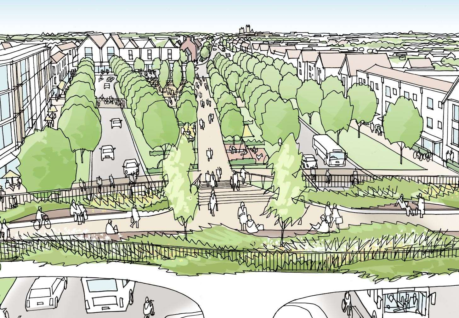An artist's impression of the proposed 4,000-home Mountfield Park scheme