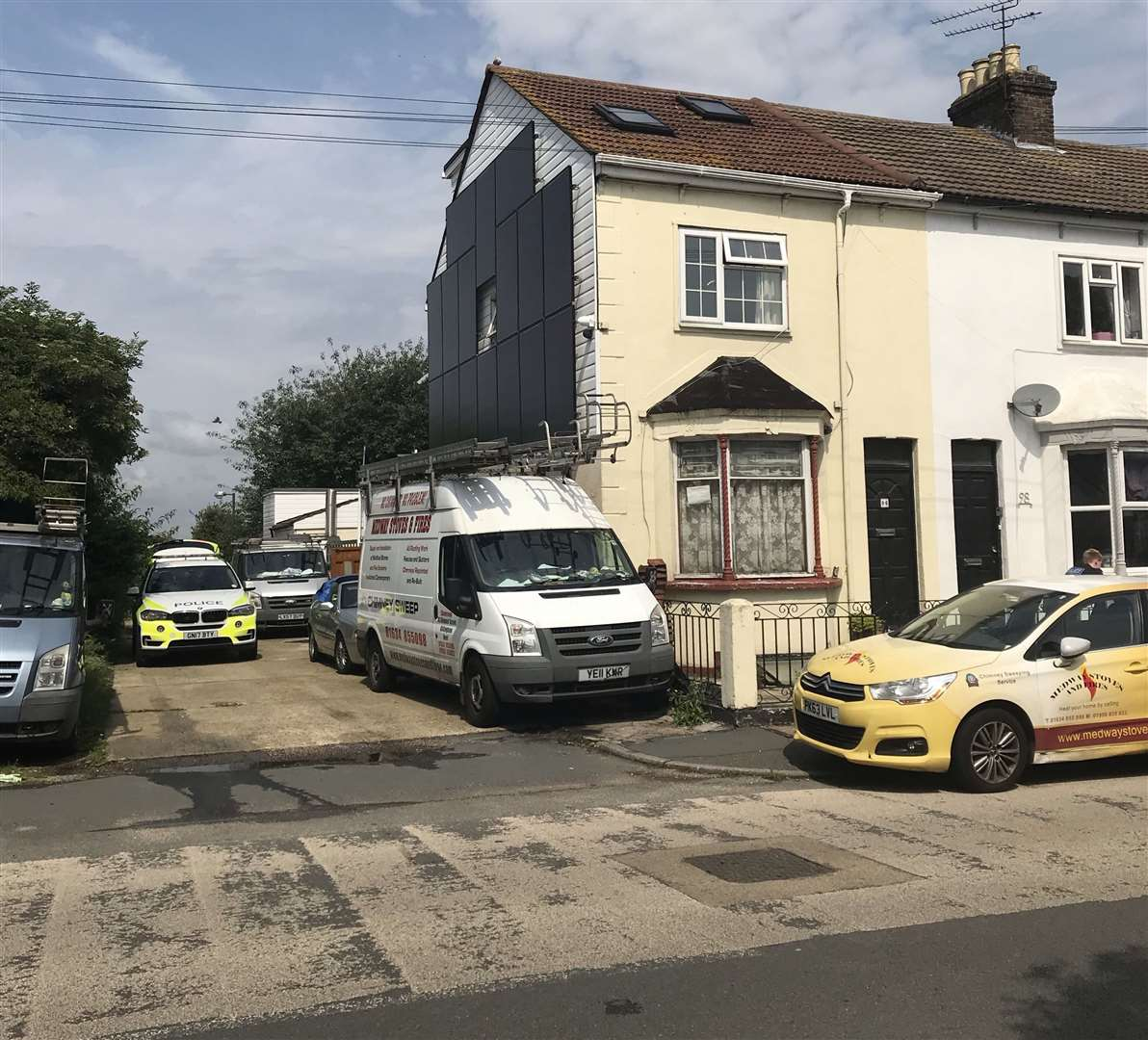 Police have been seen entering a home in Ingram Road