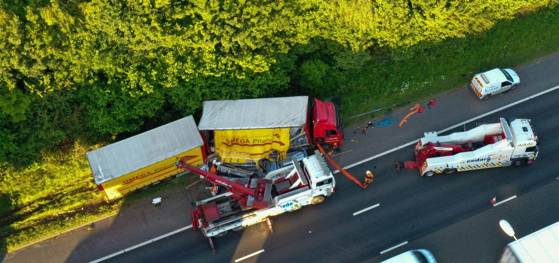 The overturned lorry on the A2. Picture: UKNiP