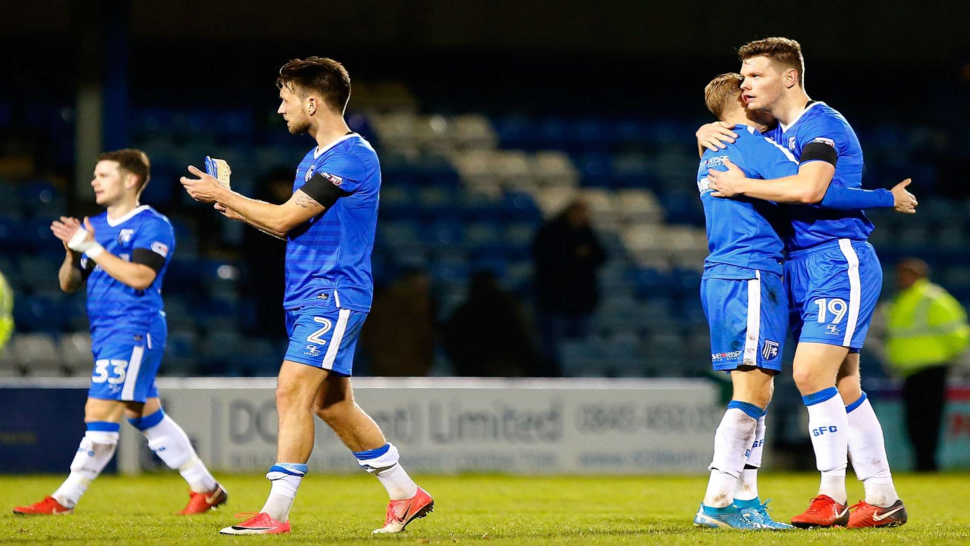 The players celebrate an impressive win at full time Picture: Andy Jones