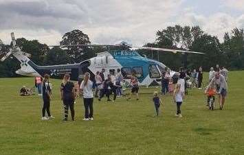 The helicopter landed near a play area. Picture: Rose Berry