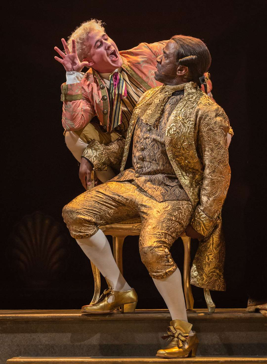 Adam Gillen as Mozart and Lucian Msamati as Salieri in Amadeus Picture: Marc Brenner
