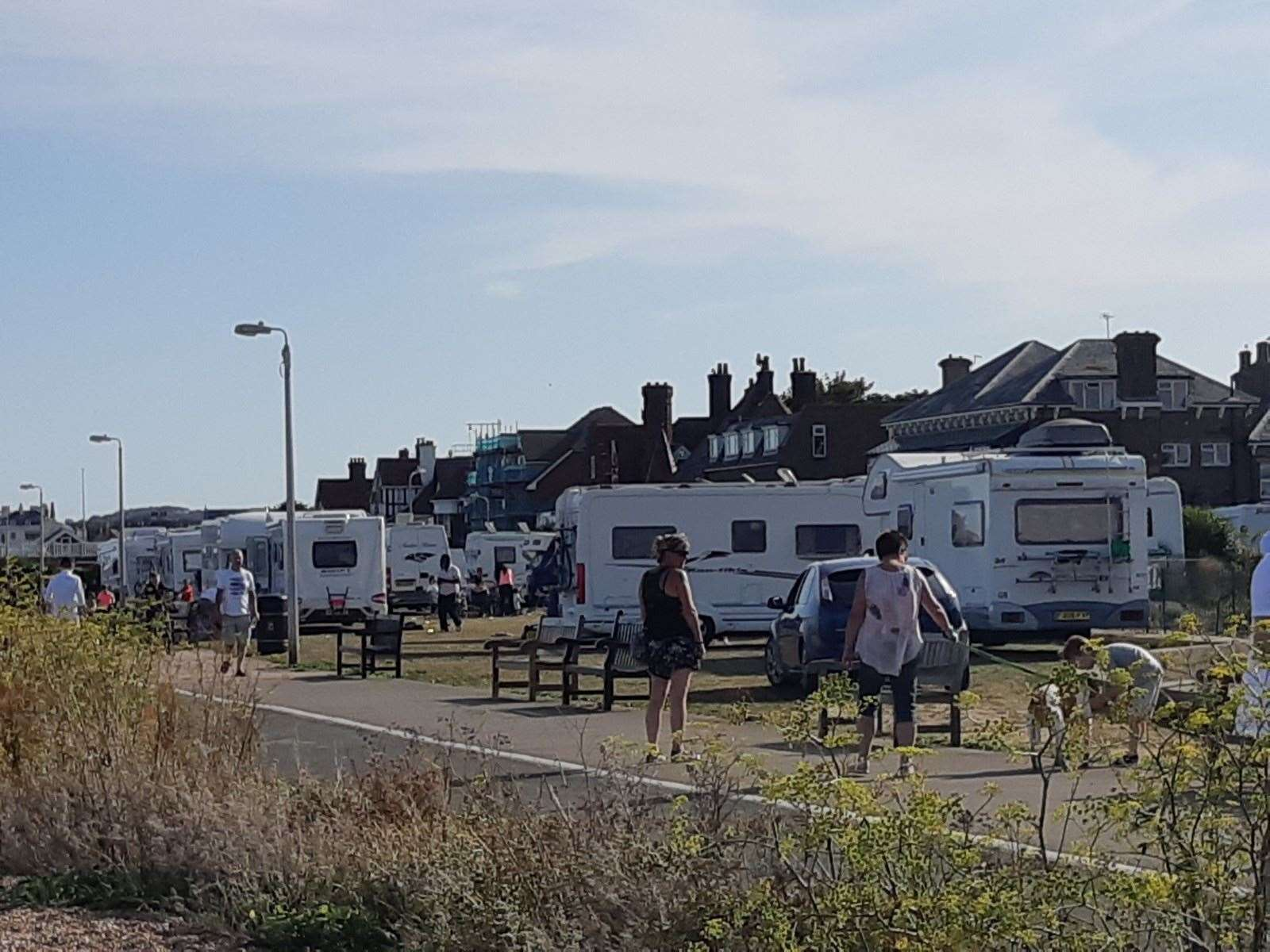 Travellers pitched up at Deal Castle in August this year