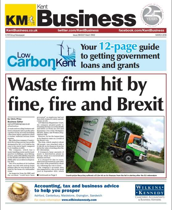 The front page of the latest edition of Kent Business, the first of which was published in March 1993