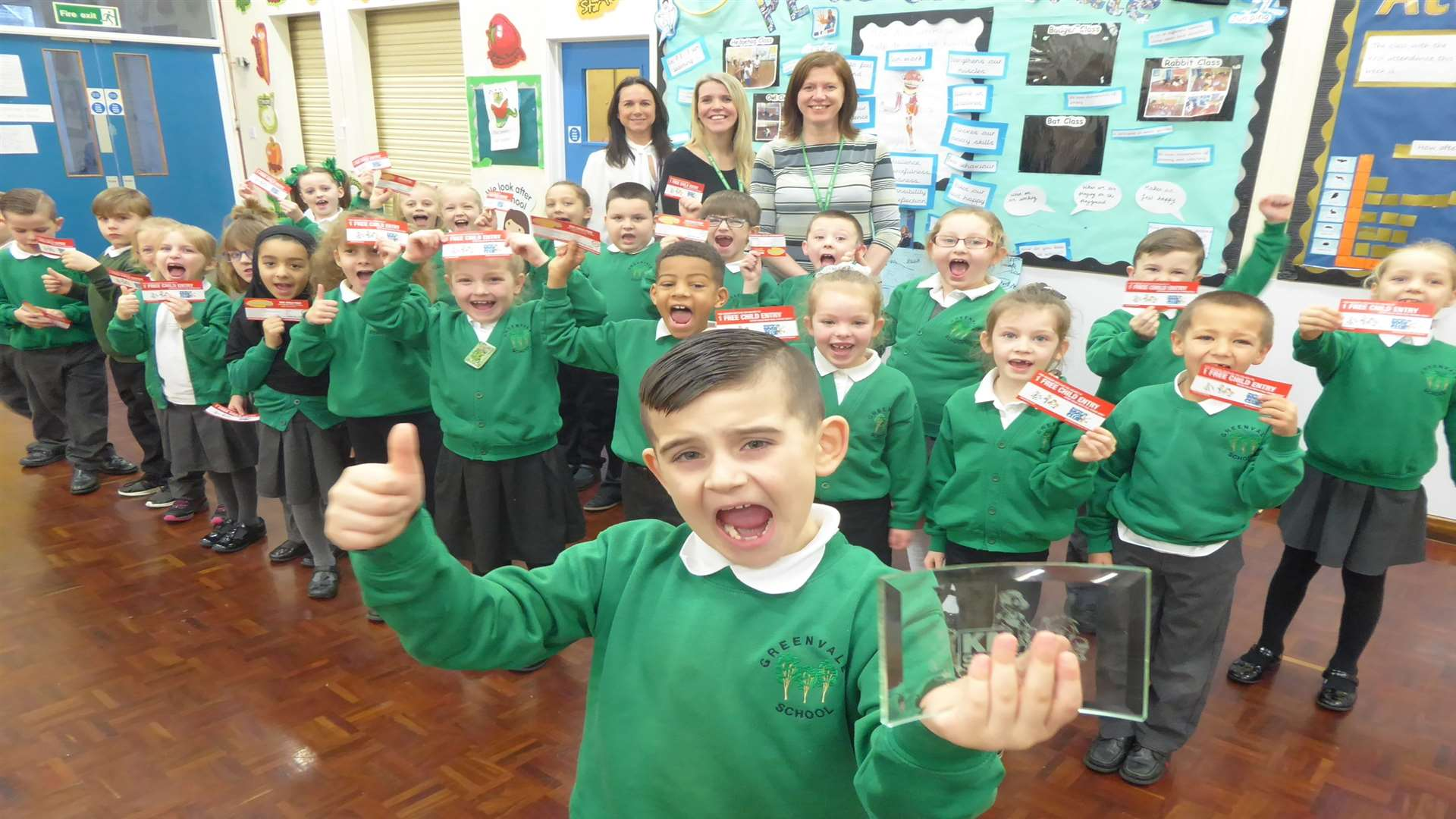 Jayden Cundall and Badger Class at Greenvale Infant School, Chatham, celebrate being walk to school champs.
