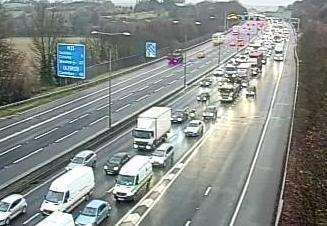 The crash has caused queues on the M25. Picture: Highways England