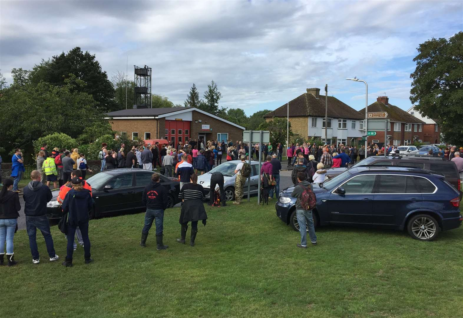 Crowds gathered the morning after Lucas Dobson went missing to help search for him