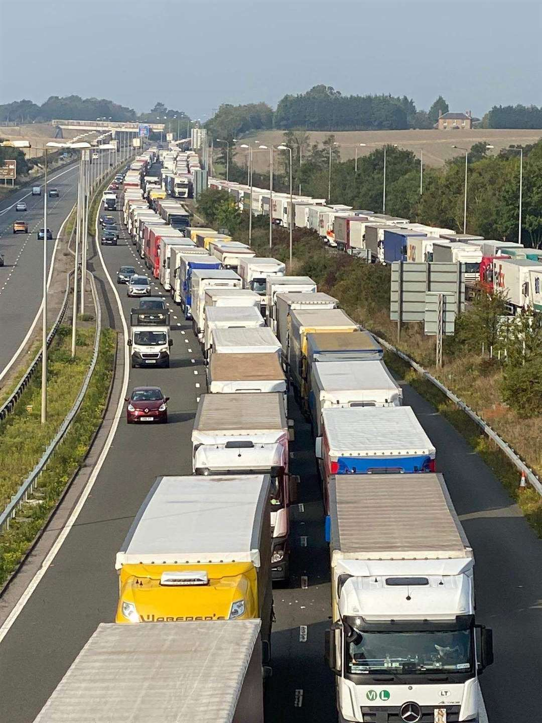The entrance to the Channel Tunnel is clogged Picture: Barry Goodwin