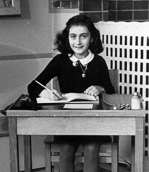 A posy will be left at the Anne Frank tree in Ashford, pictured here is Anne Frank. Stock image