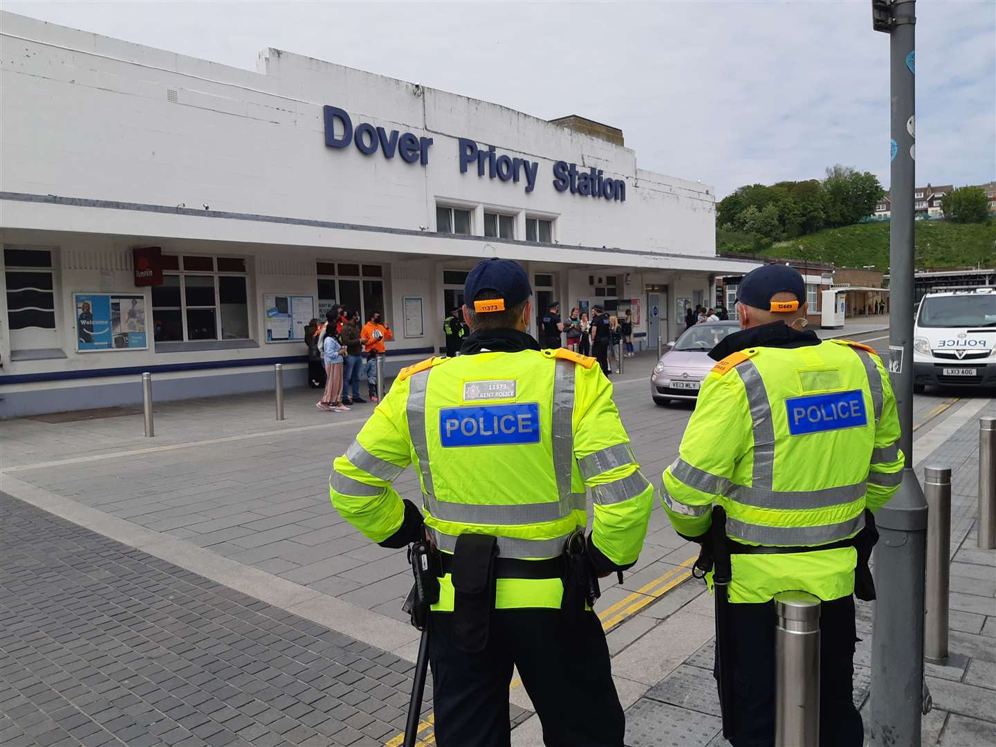 Officers were preparing at the train station ahead of the march