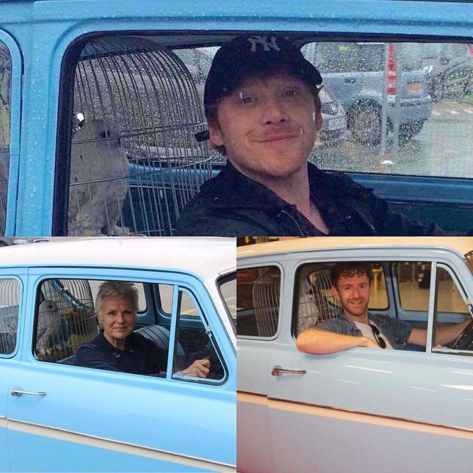 Stars Rupert Grint and Julie Walters at the wheel of the distinct Ford Anglia. Facebook picture, permission of Steven Wickenden