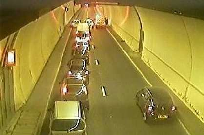 Roundhill Tunnels were closed over concerns for a pedestrian. Picture: Highways Agency via @Kent_999s