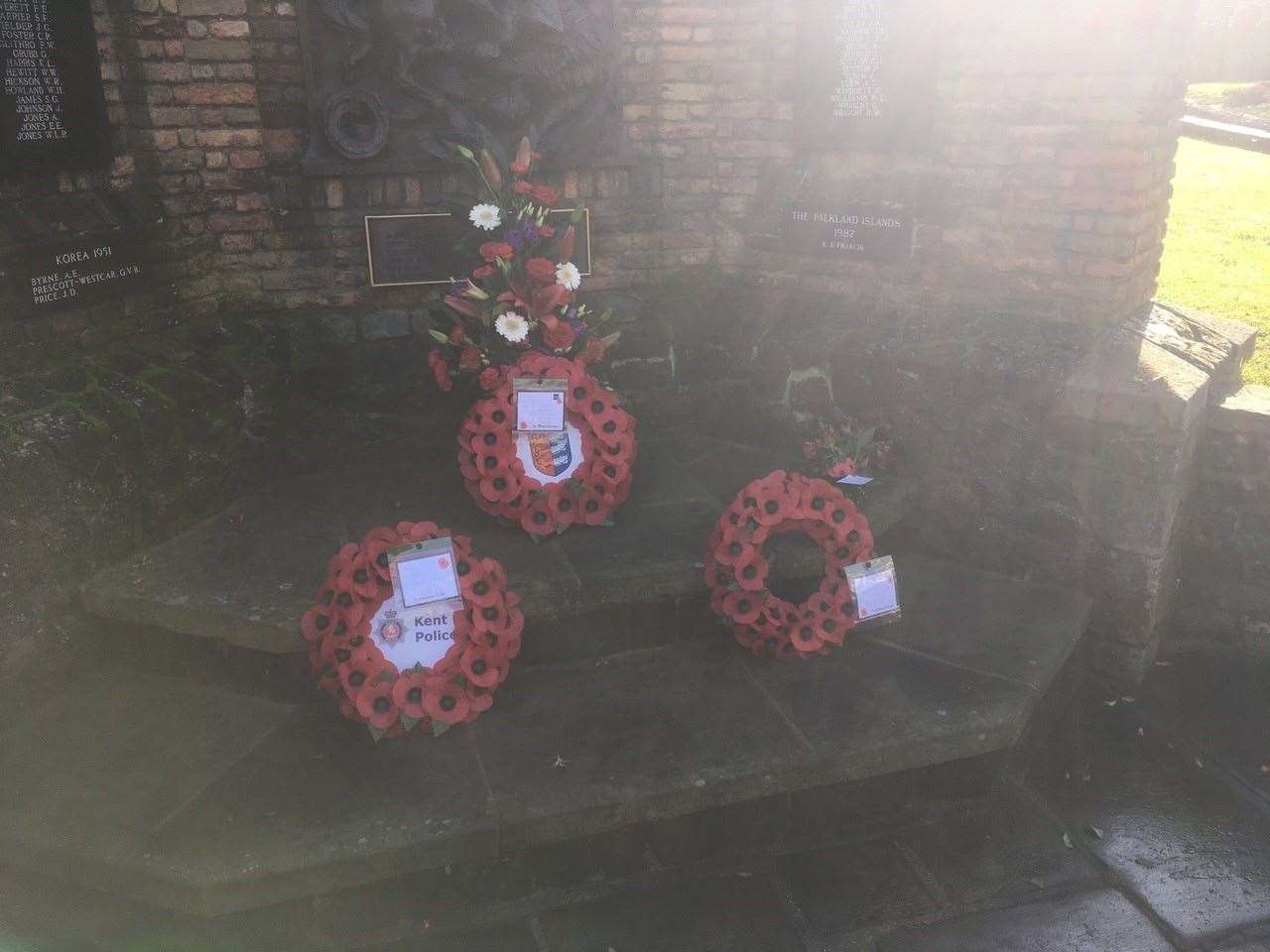Three wreaths were laid at the war memorial in Sandwich in a scaled back Remembrance event