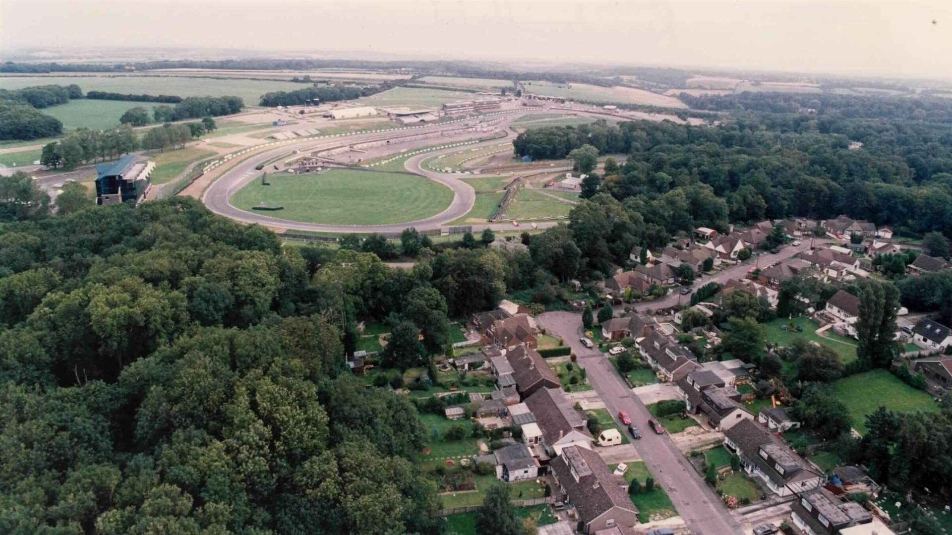 An aerial view of Brands Hatch from 1992, with part of West Kingsdown in the foreground