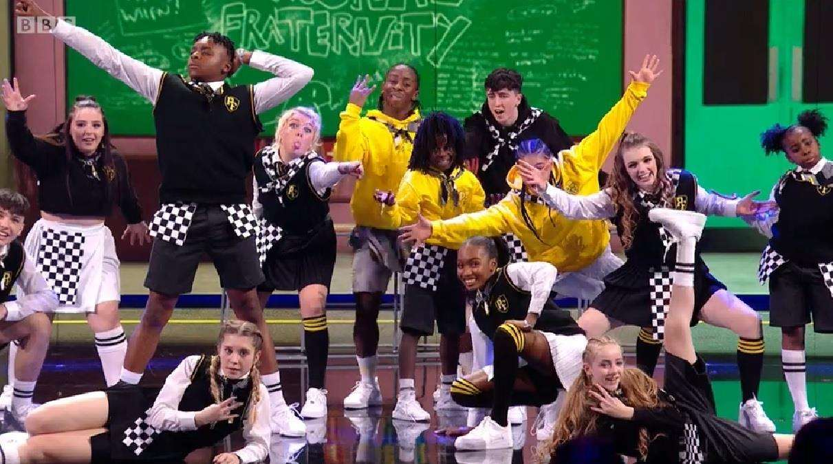 End of the line: Prospects Fraternity in The Greatest Dancer on Saturday's live show with Laila Bocarro from Teynham front left. Picture: BBC