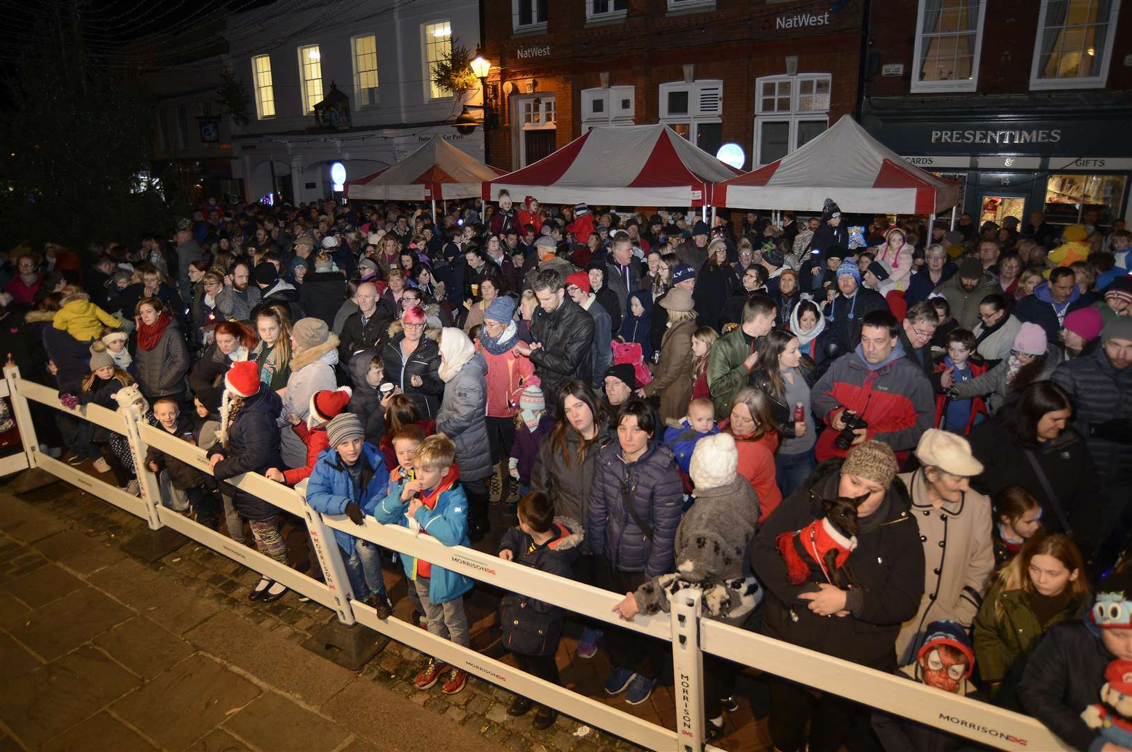 Faversham Christmas Lights switch on watched by a large crowd..Picture: Paul Amos